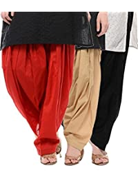 Crafts 100% Pure Solid Cotton Semi Patiala Salwar Bottoms Indoor Outdoor For Women's & Girls( Color Red / Beige...