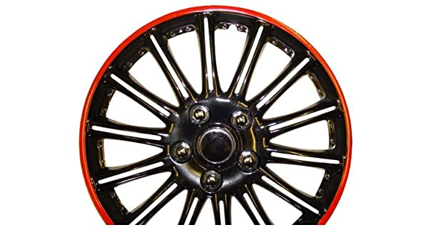Peugeot 206 15 Inch Black with Red Pinstripe Car Hub Caps Wheel Trims 15