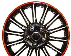 "Seat Ibiza 15 Inch Black with Red Pinstripe Car Hub Caps Wheel Trims 15"" (Set of 4)"