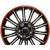 Seat Ibiza 15 pulgadas, color negro con rojo Pinstripe Car Hub Caps tapacubos de 15