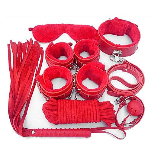 Set Bondage mit Vibrator Anal Spielzeug Fetisch Frau Sexspielzeuge für Paare Nylon Nippelklemmen Handschellen Augenmaske Erotic Toys, Rot