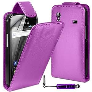 MobileAccessories4U Leather Flip Skin Case Cover, Film & Mini Stylus For Samsung Galaxy Ace S5830 - Purple