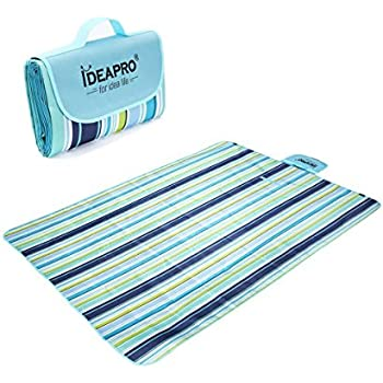 IDEAPRO Picnic Blanket Extra Large 180 x 145cm Outdoor Foldable Camping Rug Waterproof Traval Grass Beach Mat (blue)