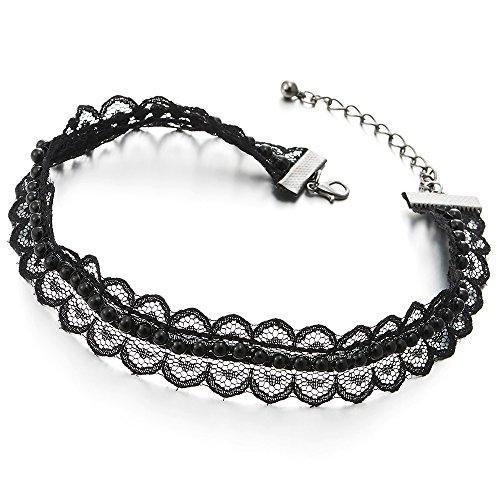 COOLSTEELANDBEYOND Damen Mädchen Blumen Choker Halsketten Schwarz Spitze Tattoo Halskette mit Schwarz Wulst