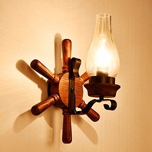 American country Gang Flur Wand lampe Schlafzimmer Bett echten Holz- ruder Kreative Beleuchtung