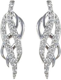 Elegante 925 Sterling Silber Damen - Paar Ohrringe mit Zirkonia - 22mm*5mm