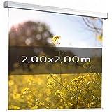 KIMEX 042-3623 Pantalla de proyección motorizada 2,00 x 2,00 m, Formato 1:1, Tela blanca