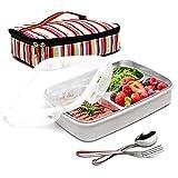 BOQUN Edelstahl Bento Box 3Herausnehmbaren Fächer Rechteckige Lunchbox auslaufsicher Frischhaltedosen mit Isoliert Tasche und Gabel Löffel Kit, Mikrowelle Spülmaschinenfest. Beige