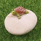 Simday 1PC niedlicher Mini-Schildkröte Dekoration, Miniature Fairy Garden Schildkröte auf Stein Puppen Garten Puppenhaus Home Decor 1 Turtle on the Stone
