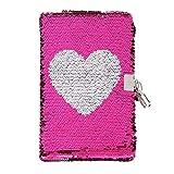 Lot de stylos à encre gel licorne - Journal secret verrouillable - Reversible à paillettes - Pour enfants - Cadeau d'anniversaire pour fille cœur