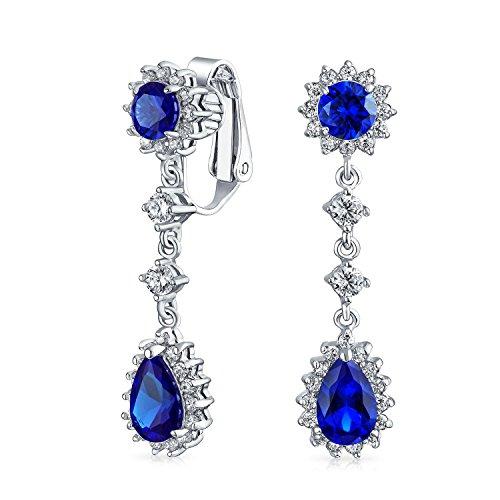 Bling Jewelry simulierten Sapphire CZ Bridal Ohrringe Schelle Messing rhodiniert