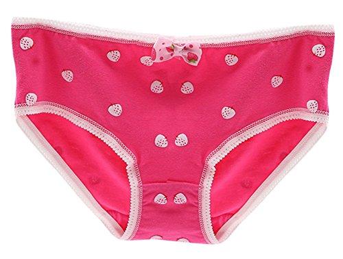 EOZY Damen Bikinislips Erdbeeren Taillenslip Baumwolle Rosa