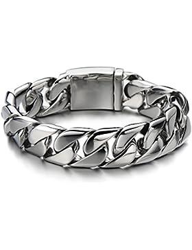 Top-Qualität Flach Panzerkette Edelstahl-Armband für Herren Farbe Silber Hochglanz poliert 17MM Breit