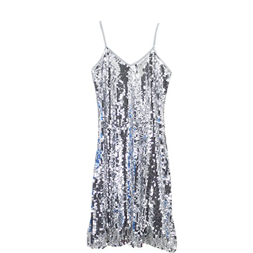 YuanDian Damen Fransen Halfter Pailletten Partykleid Ärmellos Glitzer Performance Kurz Kleid...
