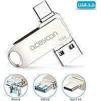 aceyoon Pendrive Tipo C 32 GB OTG 3 en 1 Flash Drive USB C 3.0/USB 3.0/Micro USB con llavero 130MB/s para Samsung, Macbook, Huawei P 8/P 10 Type C Memoria Flash de lectura Negro