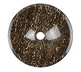 Waschbecken Waschschale Material 100% Marmor, Aufstazwaschbecken Handwaschbecken Naturstein, rund, Farbe: Braun mit Maserung, Durchmesser 33cm