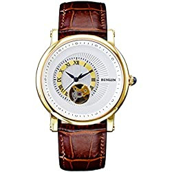 BINLUN Mens 18k Gold Watches Waterproof Mechanical Skeleton Watch Men with Large Face Brown Leather Strap