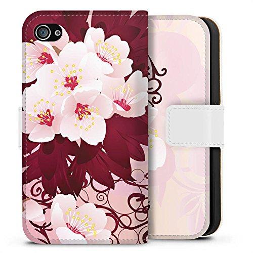 Apple iPhone X Silikon Hülle Case Schutzhülle Blüten Weiße Blumen Muster Sideflip Tasche weiß