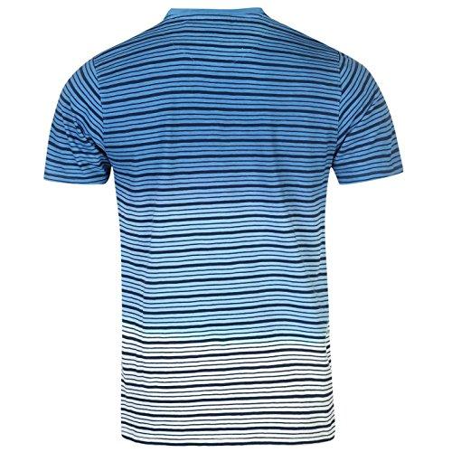 Pierre Cardin Herren Dip Dye T Shirt Gestreift Kurzarm Rundhals Bestickt Logo Blau/Weiss