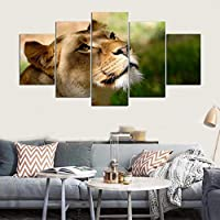 WZYWLH 5 Paneles de Lona Impreso Animal Lion Wall Art Home Decor Pintura de la Lona