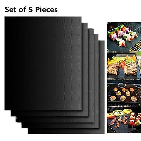 Extsud Set de 5 Tapis de Cuisson pour Barbecue et Four - BBQ Tapis très épais de 40*33cm pour les barbecue à gaz, charbon ou électriques. 100%
