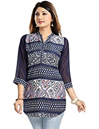 Color Petal Floral Design Blue Colour Printed Short Crepe Kurti / Tunic / Top For Women And Girls