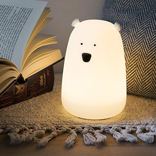 Kinder Nachttischlampe - Nachtlicht Bär Design, Fernbedienung und Süße RGB Farbwechsel Kinder Nachttischlampe - weiß, USB, Süße, Schlummerlicht, RGB, Navaris, Nachttischlampe, nachtlicht babyzimmer, Nachtlicht, Micro, LED, Kinder, Kabel, Fernbedienung, Farbwechsel, Eisbär, Design, Bär