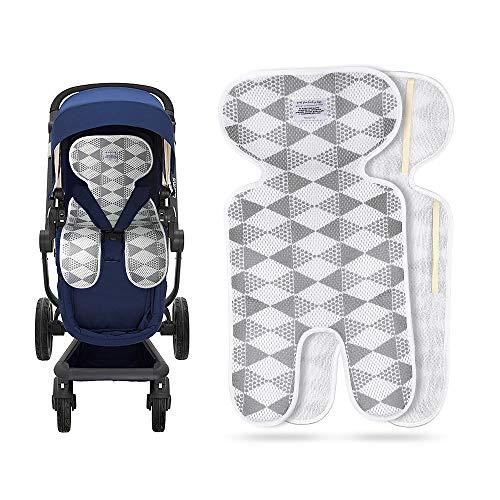 Luchild Sitzauflage Kinderwagen Sommer Atmungsaktive Sitzeinlage für Buggy (grau-Dünn)