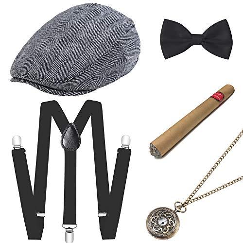 Männer Hüte Kostüm - ArtiDeco 1920s Herren Accessoires Mafia Gatsby Kostüm Set inklusive Panama Gangster Hut Verstellbar Elastisch Hosenträger Herren Halsschleife Fliege Taschenuhr und Plastik Zigarre (Set-12)