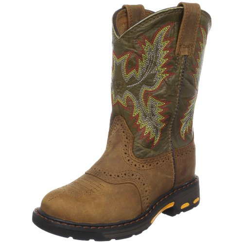Kids' Workhog Pull-on Boot, Aged Bark/Army Green, 13.5 M US Little Kid