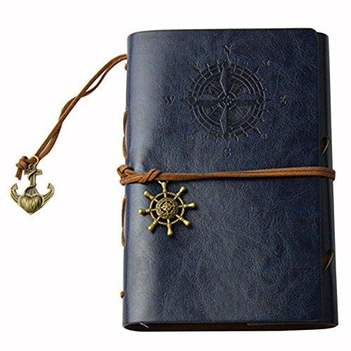 Notizbücher Student,iSpchen Retro Kreative Notizbücher Notepad Pirate Straps Männer Frauen Nautical Leder Tagebuch Memo Tiefes Blau