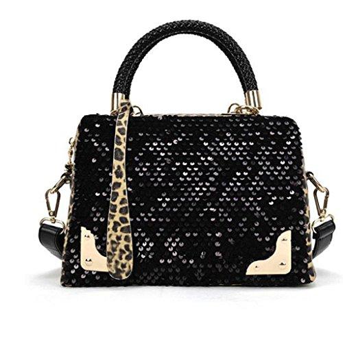 Borsa Familizo Elegant Donne paillettes leopardo della traversa del messaggero Borsa a tracolla borsa borsa (Nero)
