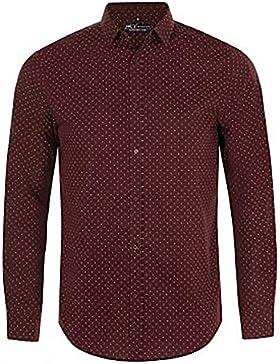 SOLS - Camisa de popelín de manga larga estampado de lunares modelo Becker para hombre