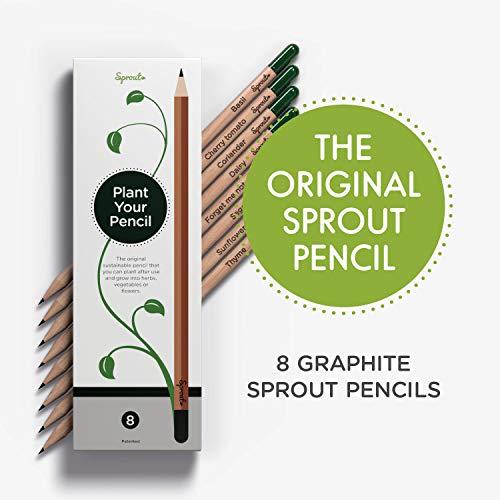 Sprout Pencils | La matita Sprout Originale | Matite da Disegno Piantabili | Matite di Qualità con Semi | Scatola da 8