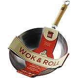 """School Of Wok """"Wok und"""" Antihaftbeschichtung Carbot Stahl rund Boden Wok, Rolle, silber, 33cm"""