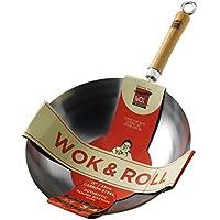 School of Wok quot;Wok and Roll Carbot - Wok de Base Redonda, Acero, Color Plateado, 33,02 cm