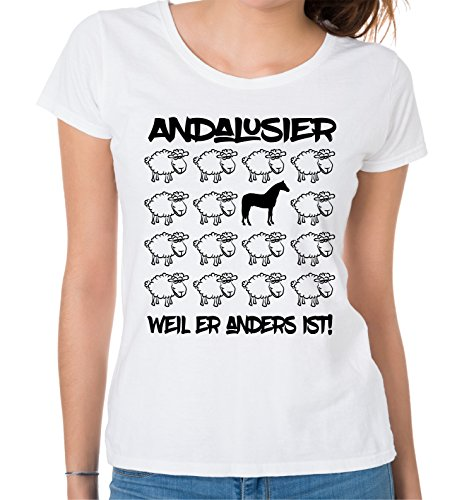 Siviwonder WOMEN T-Shirt BLACK SHEEP - ANDALUSIER nobles Pferd REITEN - PFERDE Fun Schaf Weiß
