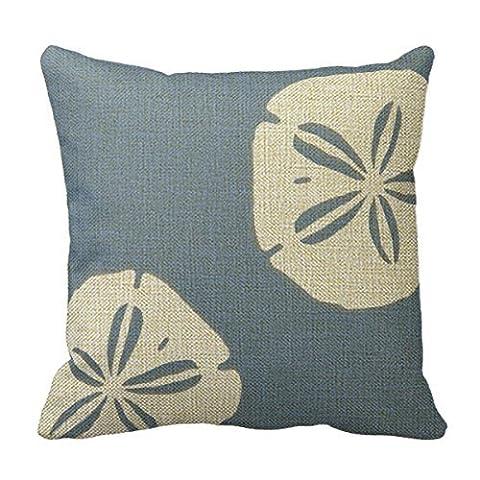 Cotton Linen Square Fashion Denim Blue Sand Dollars Nautical Pillowcase