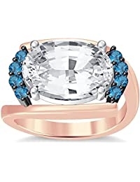 Silvernshine 4Ct Oval & Round Cut Sim Aquamarine Diamonds 18K Rose Gold Plated Engagement Ring