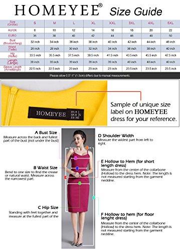 HOMEYEE Robe Moulante Lace Manches Longues Femme UK803 Rouge