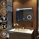 EMKE Espejo de baño con iluminación LED, Espejo de baño de Pared con múltiples Funciones