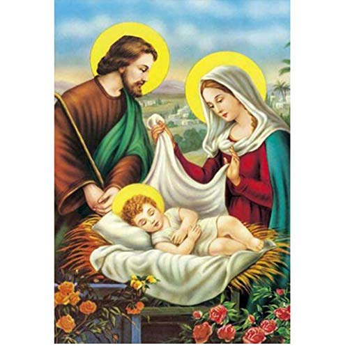 Malerei 3D Symbol Quadrat Bild Heilige Familie Kirche Handwerk Diamant Mosaik Stickerei Icon Dekoration 30X40 cm ()