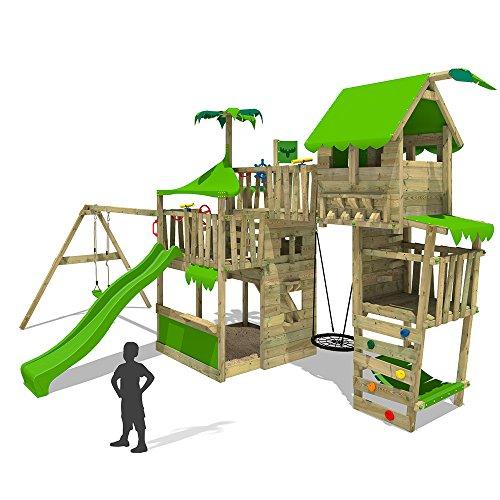 FATMOOSE Spielturm TropicTemple Tall XXL Kletterturm Baumhaus Spielplatz auf 5 Ebenen, Nestschaukel, Rutsche, Schaukel, Sandkasten, Kletterleiter und Hängematte