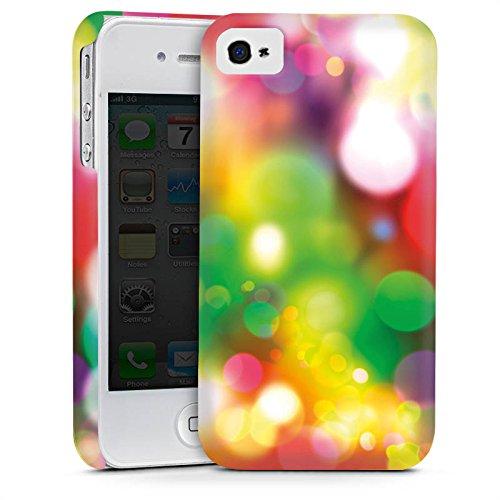 Apple iPhone 4 Housse Étui Silicone Coque Protection Lumières Points Motif Cas Premium mat