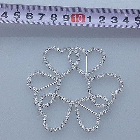 Nuovo 10Pcs / set 50 millimetri A-Grade strass Fibbia Diamante doppio a forma di cuore invito fibbia rifornimento di cerimonia nuziale decorazione di nozze