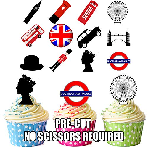 London Party Pack, Kuchen Dekorationen - 36 Essbar Stand-up Cupcake Topper