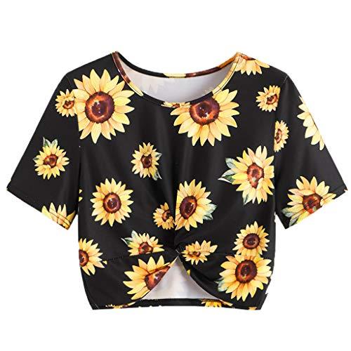 Camiseta de Manga Corta de Verano con Estampado de Girasol...