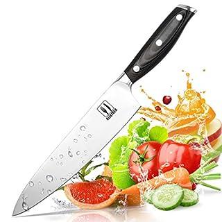 Allezola Küchenmesser Kochmesser Chefmesser 19 cm Allzweckmesser Kartoffelschälmesser aus Hochwertigem Carbon Edelstahl mit Scharfer Klinge und Ergonomischem Griff