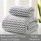 SNOLEK Erwachsenes saugfähiges Handtuch kationisch grau zweiteilig
