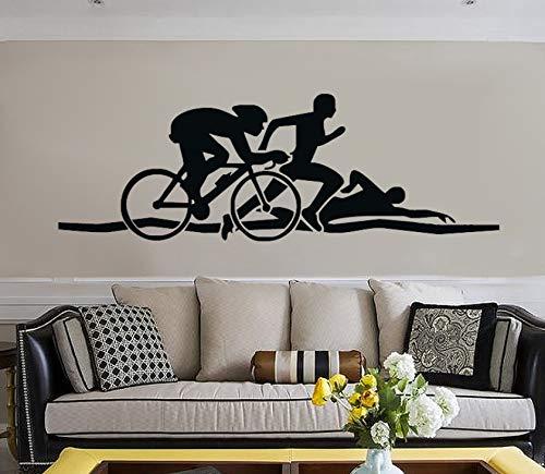 Pbldb Triathlon Leichtathletik Tapete Schwimmen Laufen Radfahren Transfer Vinyl Wandaufkleber Dekorative Kunst Sport Aufkleber Für Kinder 38X98Cm